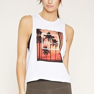 🌈 3/$25 Forever 21 White Graphic Tank Top NWT
